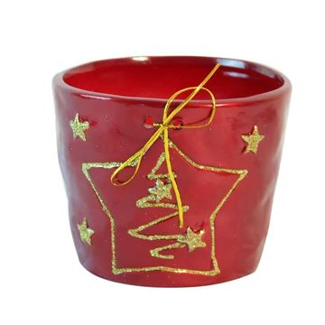 Picture of Red Christmas Tree Flower Pot (10.5cm)