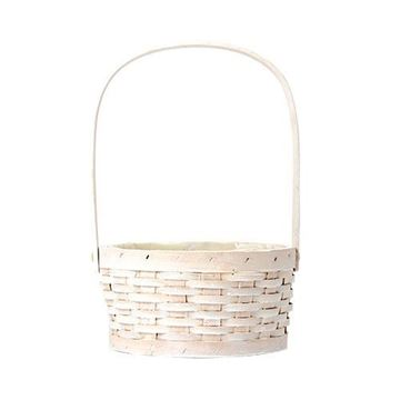 Picture of White Circular Softwood Basket